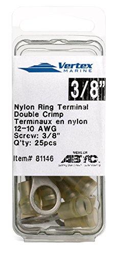 Ring Terminal Marine Grade - Nylon Insulated - Double Crimp - A81146 - 12-10 AWG - 3/8