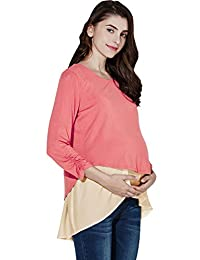 Sweet Mommy Maternity and Nursing Layered A-line Top Half Sleeve