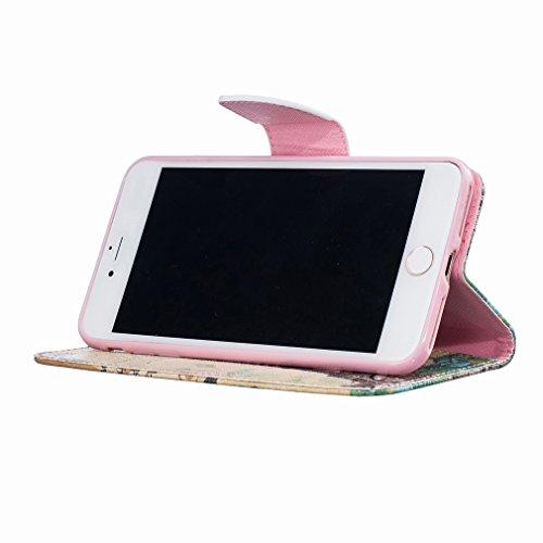 Yiizy Apple IPhone 7 Plus Funda, Torre De Transmisión Diseño Solapa Flip Billetera Carcasa Tapa Estuches Premium PU Cuero Cover Cáscara Bumper Protector Slim Piel Shell Case Stand Ranura para Tarjetas
