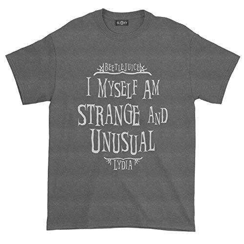 Men's Beetlejuice I Myself Am Strange Unusual Lydia T-Shirt (M, Dark Heather)