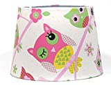 Owl Lampshade or Ceiling Light Shade Lamp shade Pendant Girls Children's kids Pink Nursery Bedroom Room Playroom 9.5' DUAL PURPOSE