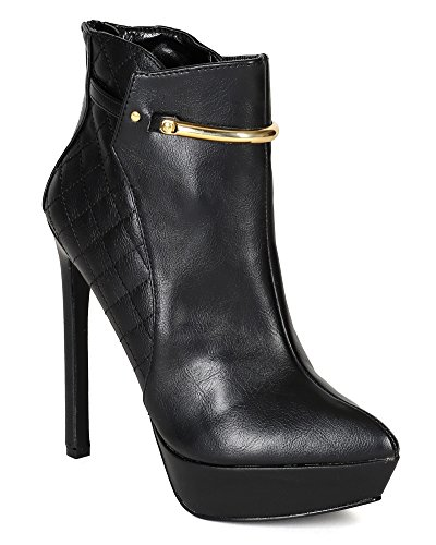 Wild Rose BE79 Women Leatherette Pointy Toe Quilted Stiletto Heel Ankle Bootie - Black (Size: (Quilted Stiletto Boots)