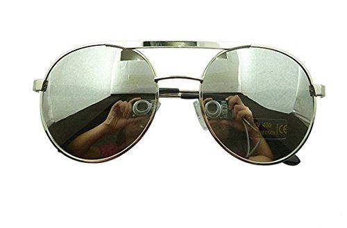 350b6a31037 Mercury Mercury Cool White Laser Metal Sheeting Great Circle Frame  Sunglasses