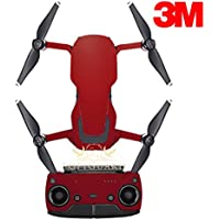 SopiGuard 3M Satin Wine Red Precision Edge-to-Edge Coverage Vinyl Sticker Skin Controller 3 x Battery Wraps for DJI Mavic Air