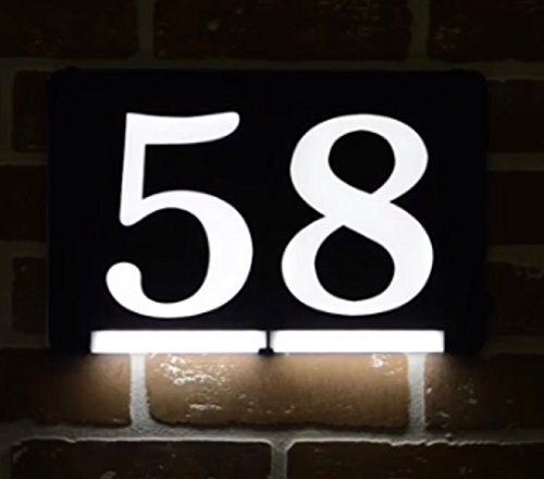 HOMIDEA Backlit LED House Number and Sound Activated Overhead Light. Personalized Large Black and White Modern Address Number Sign / Custom Street Number Plaque. ( 5 ) - Custom Lighted Signs
