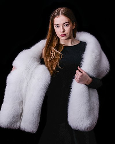 Platinum Saga Furs Arctic Shadow Fox Double Sided Real Fur Wrap Scarf Boa Stole by Your Furrier