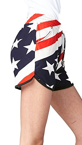 Stretch Dolphin Cut Ultra Soft Shorts for Women with Pockets - Drawstring Waistband - American Flag - ()