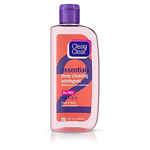 Clean & Clear Essentials Oil-Free Deep Cleaning Astringent Salicylic Acid Acne Medication, 8 Fl. Oz (Astringent Toner)