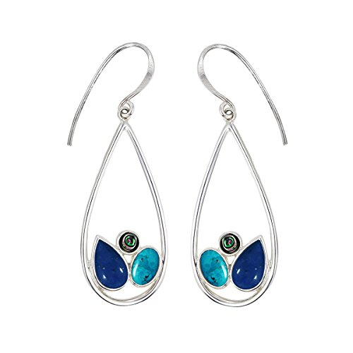 Boma Jewelry Sterling Silver Teardrop Lapis, Abalone, Turquoise ()