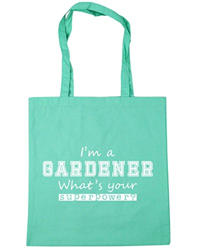 HippoWarehouse I'm a Gardener What's Your Superpower? Tote Shopping Gym Beach Bag 42cm x38cm, 10 litres Mint