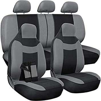 Poly Cloth Solid Black with/ Front Low Bucket and 50-50 or 60-40 Rear Split Bench//- Universal Fit for Cars Van/ OxGord Car Seat Cover 10 pc Complete Set Truck SUV