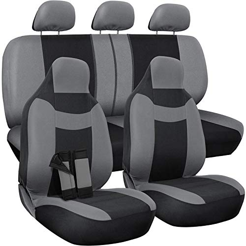 Mountaineers Black Leather - Motorup America Gray/Black Auto Seat Cover - Full Set - Fits Select Vehicles Car Truck Van SUV