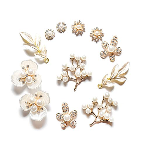 12Pcs Rhinestone Pearl Embellishments,Pearl Flower Buttons Brooch Alloy Pendants for Jewelry Making, Wedding DIY Supplies, Clothes, Bags, Shoes and Sew Craft Projects