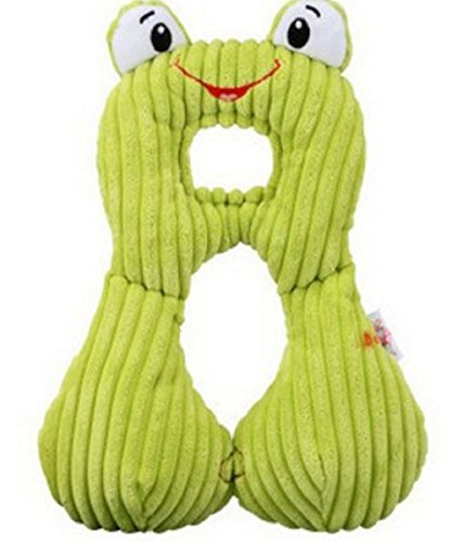 Price comparison product image RockFoxOutlet Baby cartoon animal shaped neck pillow / Travel Pillow / U-shaped pillow /car seat cushion,magnet interlocking /360° Seamless ring / PPreversible memory cotton neck pillow . (frog)