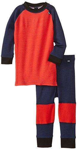Helly Hansen Kid's Warm Base Layer Suit (1 Set), Evening Blue/Red Orange, 86/1 by Helly Hansen