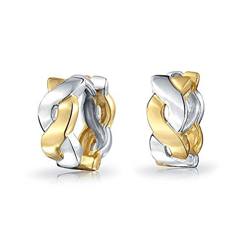 Two Tone Infinity Twist Rope Kpop Huggie Hoop Earrings For Women For Men 14K Gold Plated 925 Sterling Silver