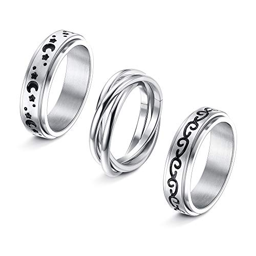 CASSIECA 3 Pcs Stainless Steel Spinner Ring for Women Mens Fidget Band Cool Rings Moon Star Celtic Stress Relieving Wide Wedding Promise Rings Set
