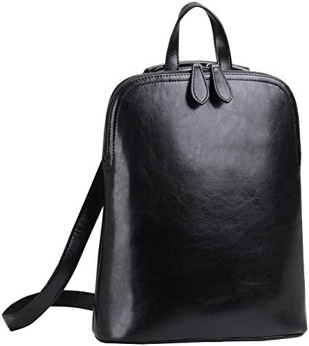 Heshe Women's Leather Backpack Casual Daypack for Ladies Black-r