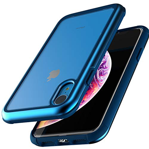 ZUSLAB Iron Shield Designed for iPhone XR Case Transparent Hard Clear Back Cover - Blue