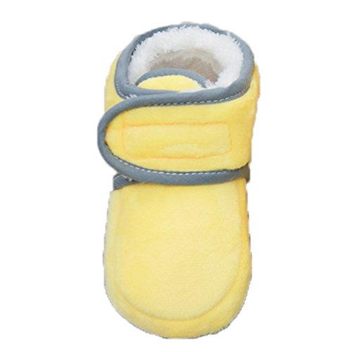 KVbaby Kleinkind Stiefel Mit Wolle warm Krabbelschuhe weiche Sohle rutschfester Babyschuhe Krippeschuhe(0-12 Monate Baby) Gelb