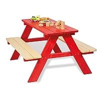 Pinolino 201665 - Set di tavolo e panchine per bambini (4 posti), colore: Rosso, in legno massello di abete rosso