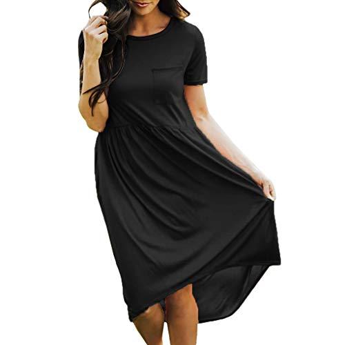 - Honestyivan Women's Solid O-Neck Short Sleeve Elastic Waist Dress Summer Simple Casual Loose Midi Dress with Pocket Black