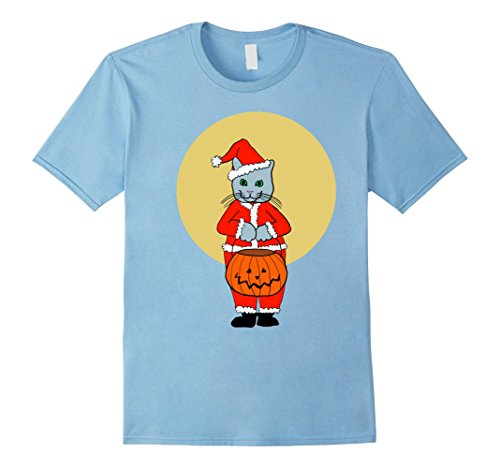 Mens Halloween Kitty Cat in Santa Claus Suit Costume T-Shirt Small Baby Blue (Santa In Blue Suit)