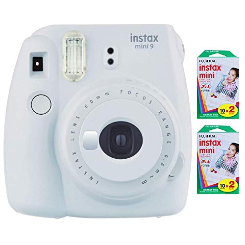 Fujifilm Instax Mini 9 Instant Camera (Smokey White) with 2 x Instant Twin Film Pack (40 Exposures) (Renewed)