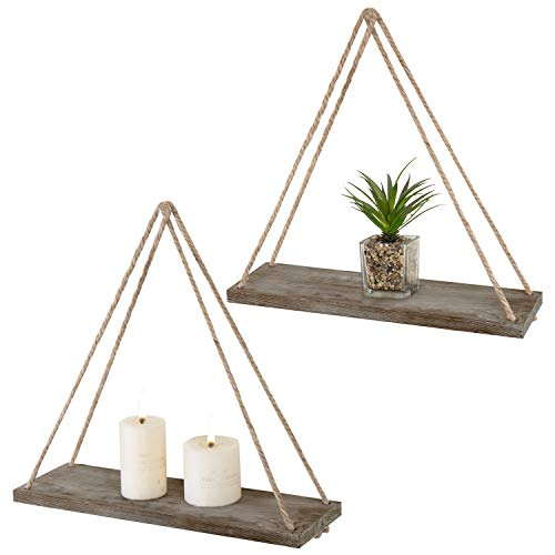 MyGift 17-inch Rustic Whitewashed Brown Wood Hanging Rope Swing Shelves, Set of 2 by MyGift (Image #3)