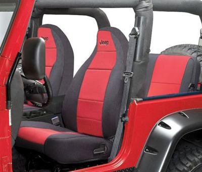 Coverking Front 50/50 Bucket Custom Fit Seat Cover for Select Jeep Wrangler TJ Models - Neoprene (Red with Black Sides)