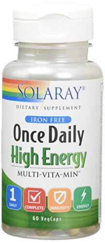 Solaray Once Daily High Energy Iron Free Veg Capsules, 60 Count