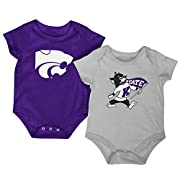 Colosseum NCAA Short Sleeve Bodysuit 2-Pack-Newborn and Infant Sizes-Kansas State Wildcats-0-3 Months
