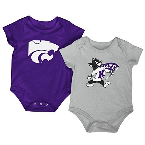 Colosseum NCAA Short Sleeve Bodysuit 2-Pack-Newborn and Infant Sizes-Kansas State Wildcats-3-6 Months