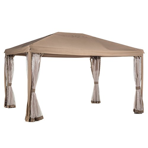 Abba Patio 10x13 Feet Fully Enclosed Garden Gazebo Patio Canopy with Mosquito Netting - Brown by Abba Patio