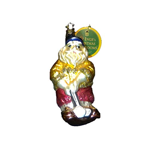 - Santa Golfer by Inge Glas German Glass Ornament