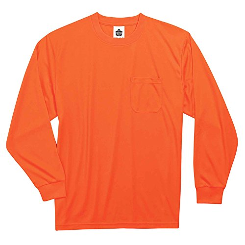 Ergodyne GloWear 8091 Non-Certified Long Sleeve High Visibility T-Shirt, 4X-Large, Orange by Ergodyne