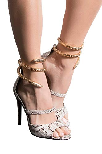 AZALEA WANG Gold Snake Anklet Wrap Peep Toe Multi Strap Stiletto Heeled Sandals-BLACK WHITE SNAKE_6 ()