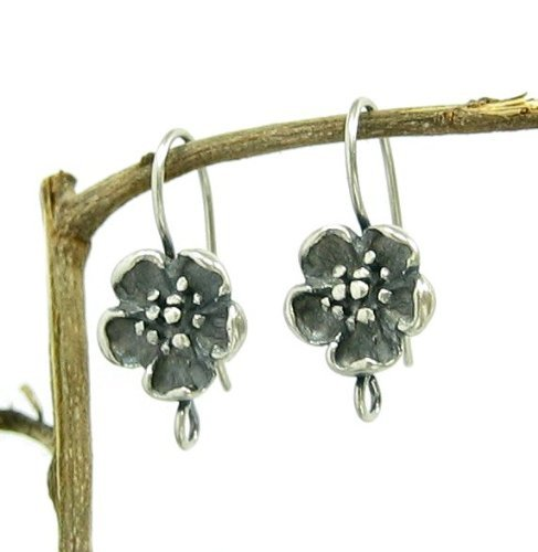 2 pcs .925 Sterling Silver Flower Earring Connector French Hook Earwires/Findings/Antique from Dreambell
