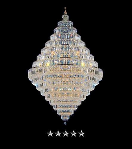 Empire Gold Pendant Crystal Chandelier (Waterfall Grande Glass Clear)