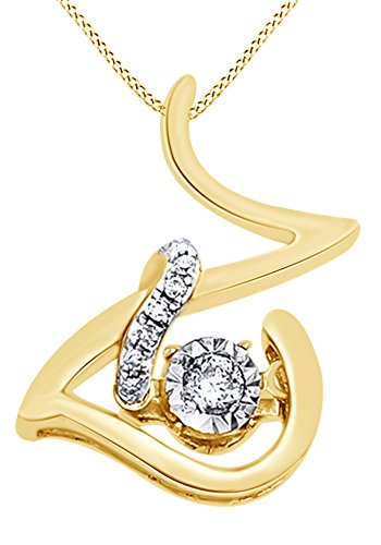 White Natural Diamond Z Initial Pendant Necklace In 14K Yellow Gold Over Sterling Silver (0.06 Ct) 0.06 Ct Initial Pendant