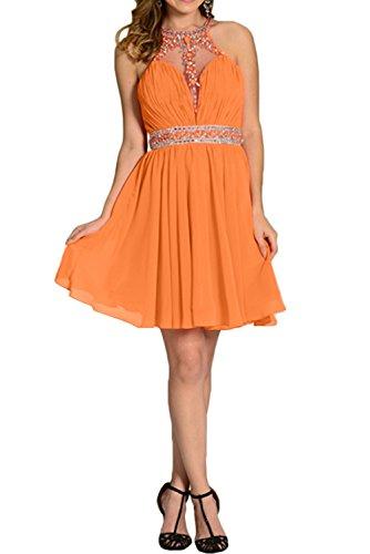 Chiffon Kurz Abendkleid Linie Ivydressing Brautjunfernkleid Partykleid Orange A Damen Steine Elegant xqwP70