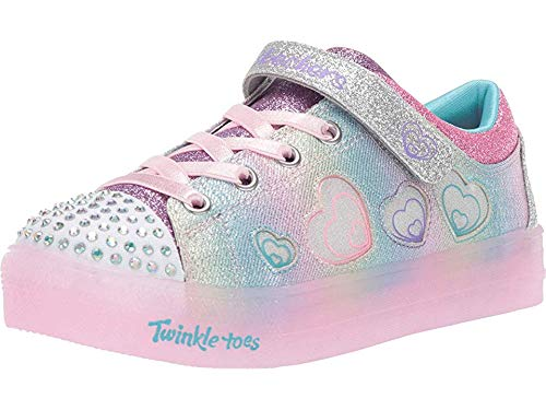 Skechers Girls Heart - Skechers Twinkle Toes Shuffle Brights Heart Dancer Girls Sneakers Pink/Silver 12.5