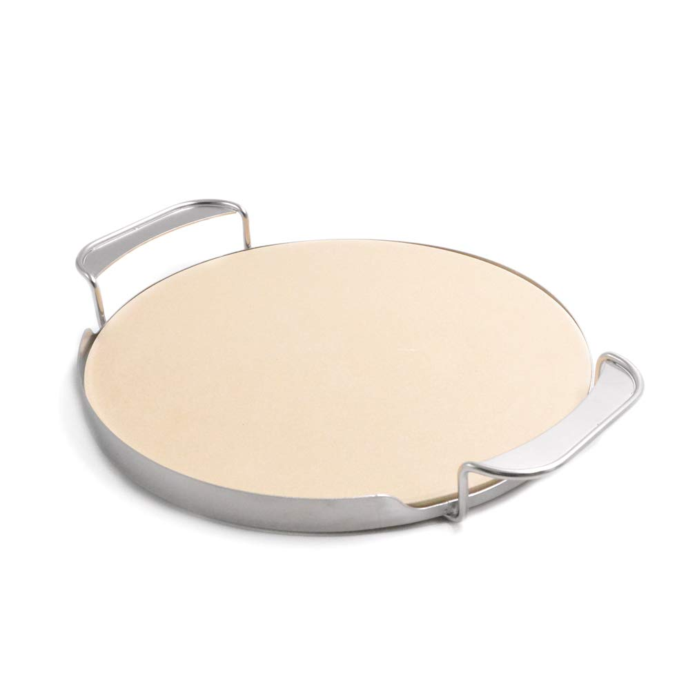 f/ür Weber Gourmet BBQ System Onlyfire /φ33,52cm Pizzastein mit Griffhalterung f/ür Pizzaofen Holzkohlegrill Kamado Gasgrill