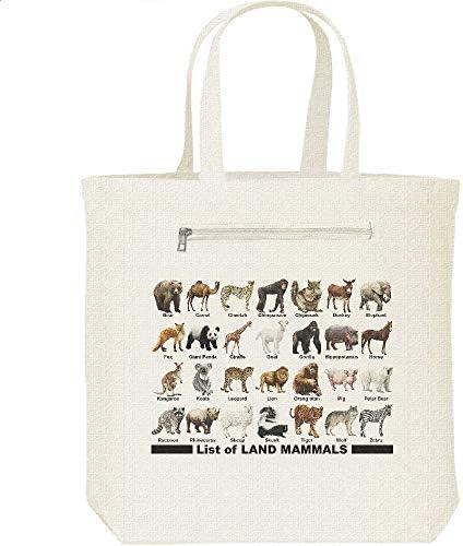 エムワイディエス(MYDS) 陸上 哺乳類のリスト/キャンバス トートバッグ・ファスナー ポケット付
