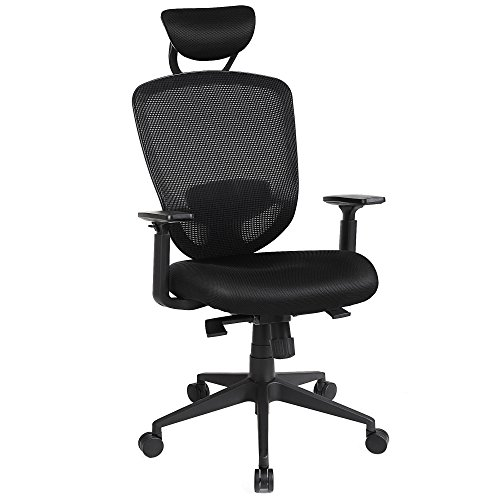 SONGMICS High Back Office Chair, Swivel Mesh Chair, with Adjustable Lumbar Support, Headrest and Armrests, Back Reclining and Tilt Lock Function, Black UOBN88BK