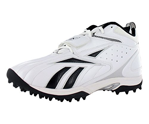 Football Reebok Shoes - Reebok Pro Full Blitz Strap Quag Men's Football Shoes Size US 13, Regular Width, Color Black/White/Silver