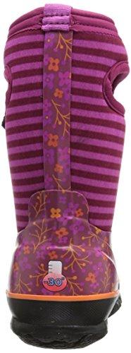 Bogs Classic Flower Stripe Kids Wellies Fuschia