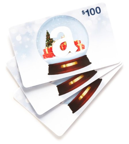 Amazon.com $100 Gift Cards, Pack of 3 (Holiday Globe Card Design)