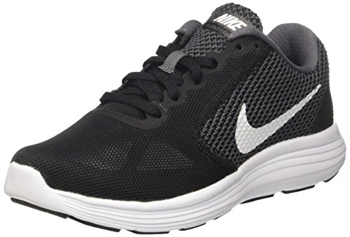 Nike Wmns Revolution 3 Women Round Toe Synthetic Running Shoe Dark Grey/White/Black 6.5 D - Wide