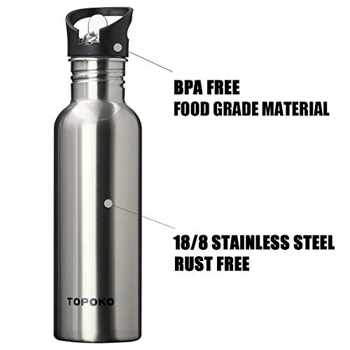 a4a202d0eb TOPOKO 25 Ounce Single Wall Stainless Steel Leak Proof Sports Water Bottle,  Standard Mouth BPA